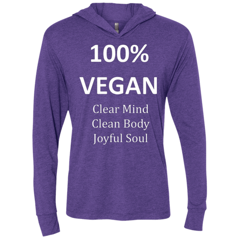"""100% Vegan"" Women's Long Sleeve Hooded Shirt"