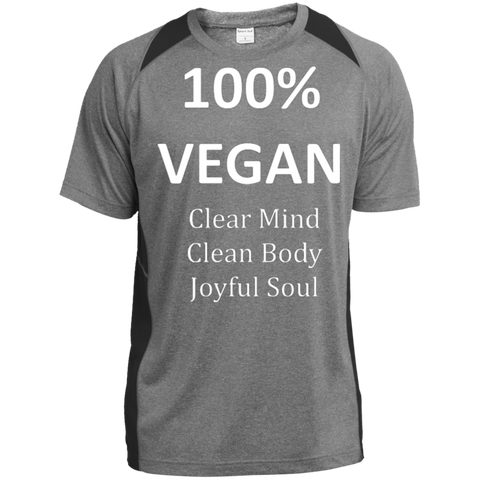 """100% Vegan"" Men's Color-Block Poly T-Shirt"