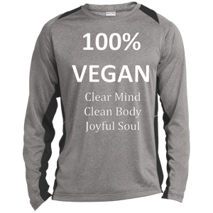 """100%"" Vegan"" Men's Color-Block Poly Long Sleeve Shirt"