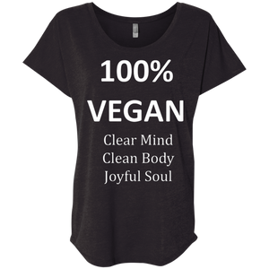"""100% Vegan"" Women's Dolman T-Shirt"