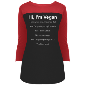 """Hi, I'm Vegan"" Women's 3/4 Sleeve T-Shirt"