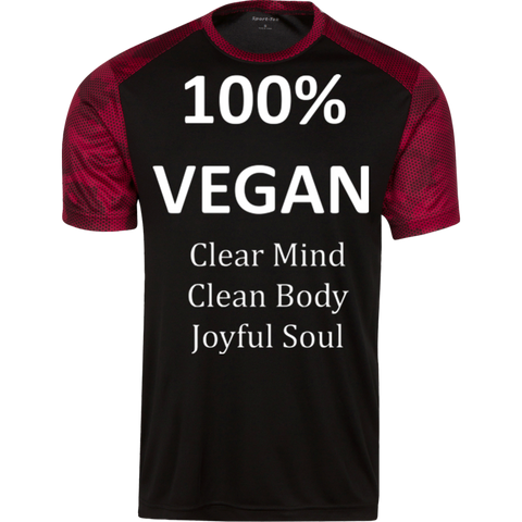 """100% Vegan"" Men's Color-Block Long Sleeve Shirt"