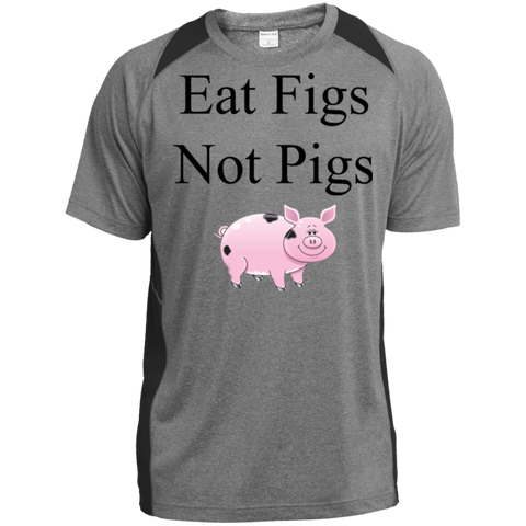 """Eat Figs, Not Pigs"" Men's Color-Block Poly T-Shirt"