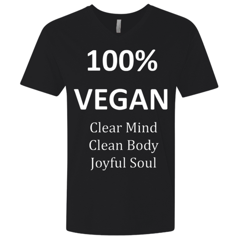 """100% Vegan"" Men's Premium Fitted V-Neck"