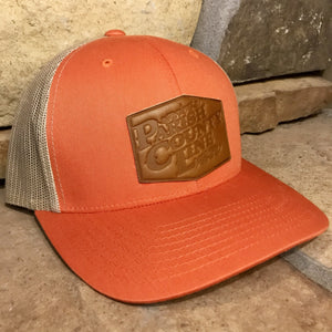 ORANGE/BEIGE LEATHER PATCH HAT