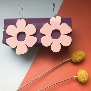 Large Blush Pink Flower Acrylic Earrings