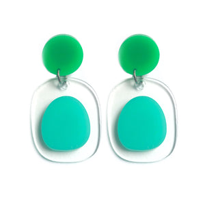 Clear Backed Earrings in Mint & Green - Mikmat Designs Earrings Laser Cut Designs