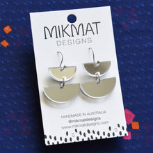 Load image into Gallery viewer, Double Dip Hook Earrings Silver Mirror - Mikmat Designs
