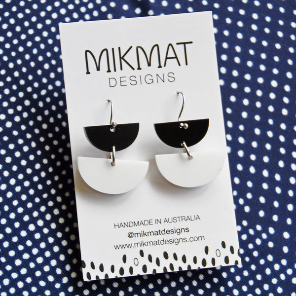 Double Dip Hook Earrings Black & White - Mikmat Designs Earrings Laser Cut Designs