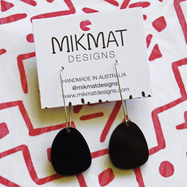 Pendulum Hook Earrings Black - Mikmat Designs Earrings Laser Cut Designs