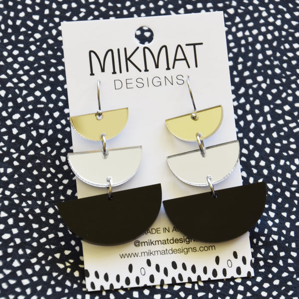 Moon Phases Drop Earrings Black - Mikmat Designs