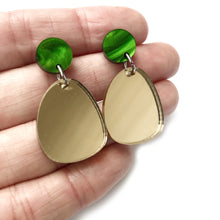 Load image into Gallery viewer, Gold Mirror Dangle Earrings
