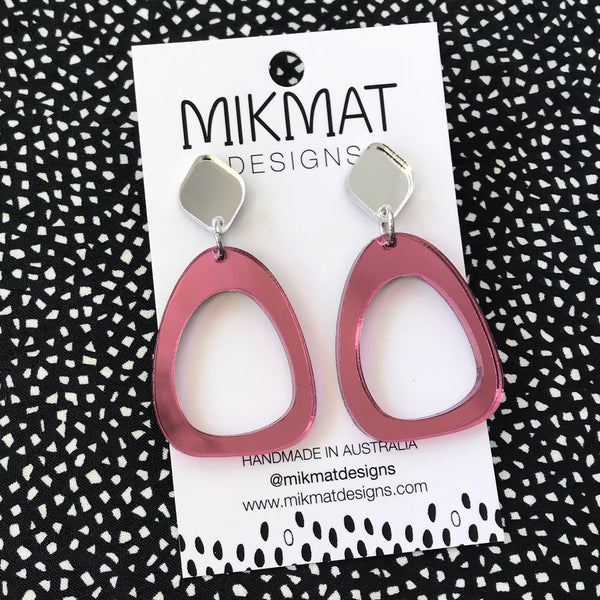 Organic Egg Drop Earrings Mirror Pink - Mikmat Designs