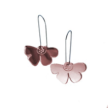 Load image into Gallery viewer, Flowerfly Earrings in Rose Gold Mirror Acrylic