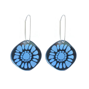 Frozen Sunshine Blue Mirror Hooked Earrings - Mikmat Designs Earrings Laser Cut Designs