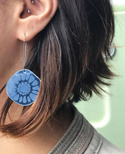 Load image into Gallery viewer, Frozen Sunshine Blue Mirror Earrings - Mikmat Designs