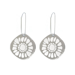 Frozen Sunshine Silver Mirror Hooked Earrings - Mikmat Designs Earrings Laser Cut Designs