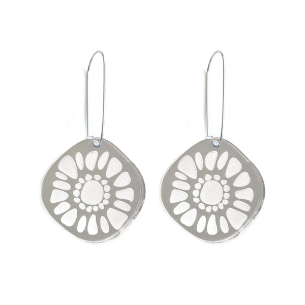 Frozen Sunshine Silver Mirror Earrings - Mikmat Designs Earrings Laser Cut Designs