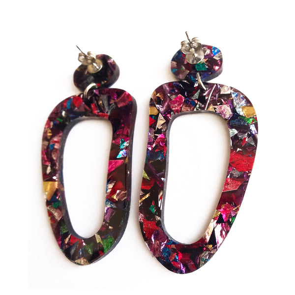 Galaxy Glitter Earrings Multicoloured - Mikmat Designs Earrings Laser Cut Designs