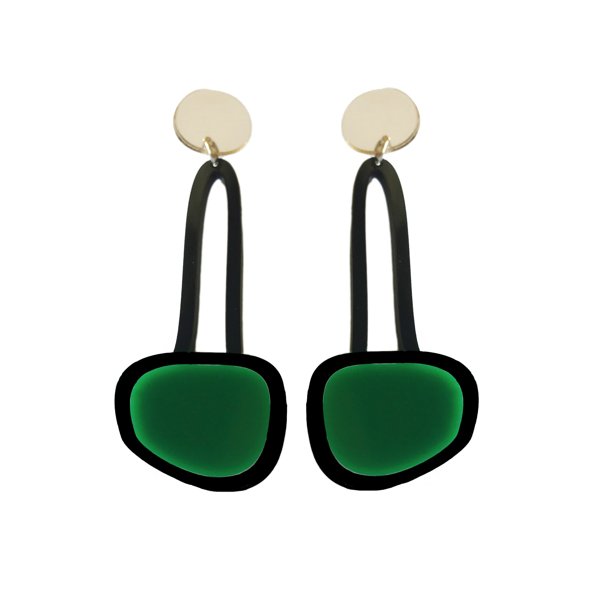 Hanging Drop Earrings Dark Green - Mikmat Designs Earrings Laser Cut Designs