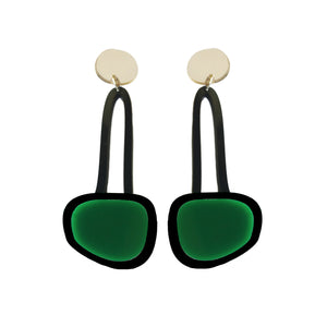 Hanging Drop Earrings Dark Green - Mikmat Designs