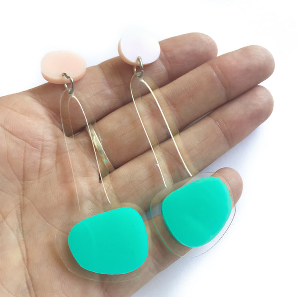 Hanging Drop Earrings Mint - Mikmat Designs Earrings Laser Cut Designs
