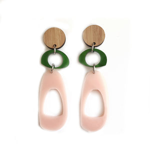 Trio Hoop Earrings in Green, Blush and Bamboo