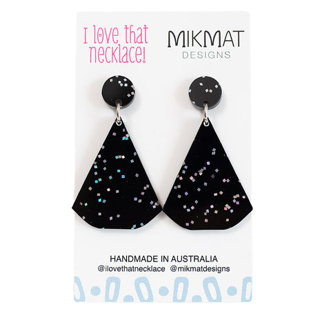ILTN Collab Glitter Fans Earrings Black - Mikmat Designs Earrings Laser Cut Designs