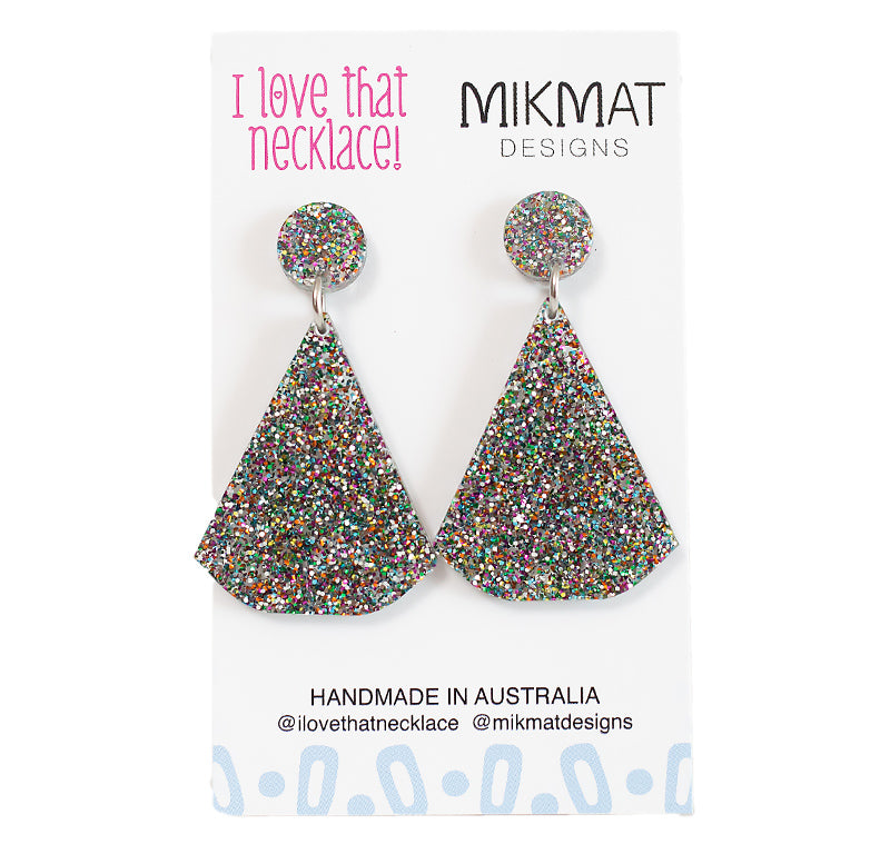 ILTN Collab Glitter Fans Earrings Multicolour - Mikmat Designs Earrings Laser Cut Designs