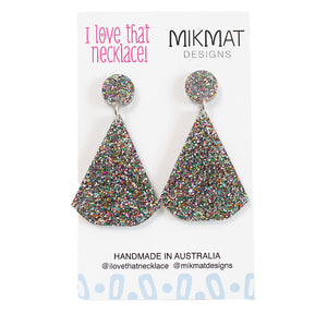 ILTN Collab Glitter Fans Earrings Multicolour - Mikmat Designs