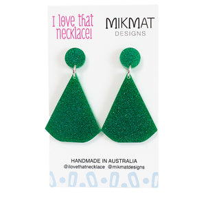 ILTN Collab Glitter Fans Earrings Green - Mikmat Designs