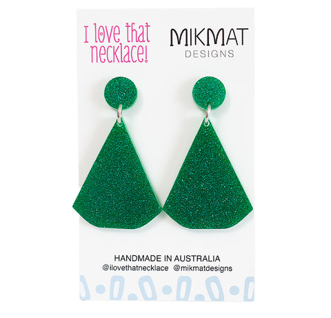 ILTN Collab Glitter Fans Earrings Green - Mikmat Designs Earrings Laser Cut Designs