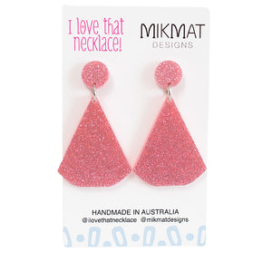 ILTN Collab Glitter Fans Earrings Pink - Mikmat Designs Earrings Laser Cut Designs