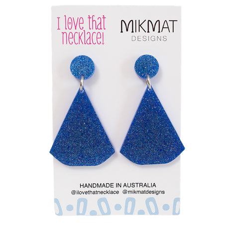ILTN Collab Glitter Fans Earrings Blue - Mikmat Designs Earrings Laser Cut Designs
