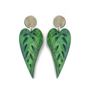 Leaves Drop Earrings Marbled Green - Mikmat Designs Earrings Laser Cut Designs