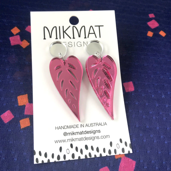 Leaves Drop Earrings Mirror Pink - Mikmat Designs Earrings Laser Cut Designs