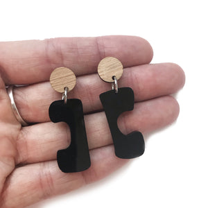 Mini Bridge Earrings Black and Bamboo - Mikmat Designs Earrings Laser Cut Designs