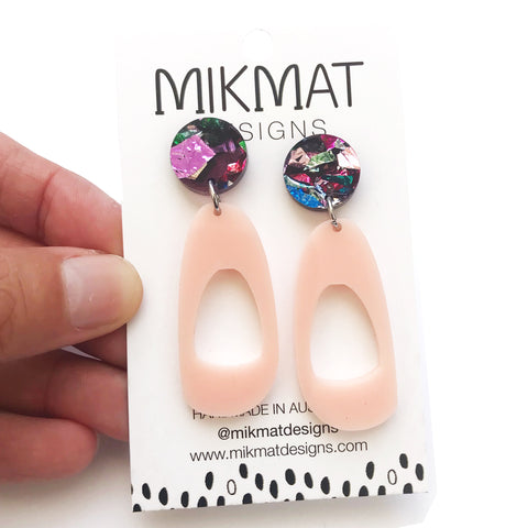 Pebble Hoop Earrings Blush with Confetti Glitter top - Mikmat Designs Earrings Laser Cut Designs