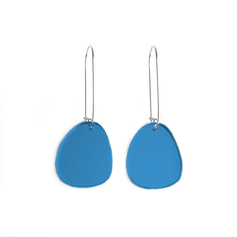 Pendulum Hook Earrings Mirror Blue - Mikmat Designs Earrings Laser Cut Designs