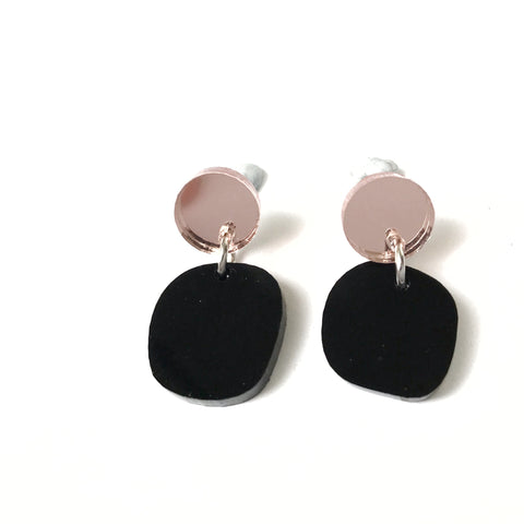 Mini Planet Earrings Black and Rose Gold