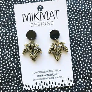 Upcycled Gold Leaves Earrings - Mikmat Designs Earrings Laser Cut Designs