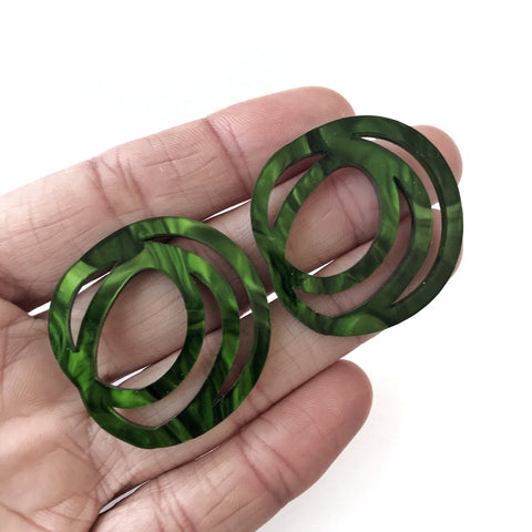Scrolls Earrings Marbled Green - Mikmat Designs Earrings Laser Cut Designs