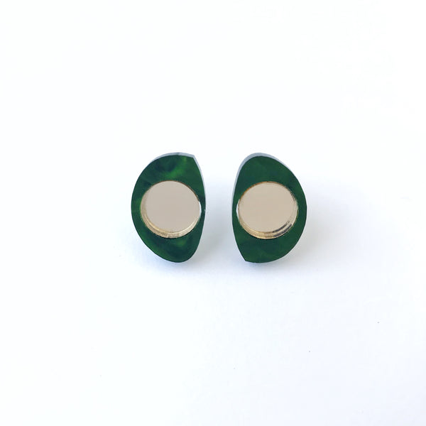 Two Tone Stud Earrings Marbled Green and Gold - Mikmat Designs