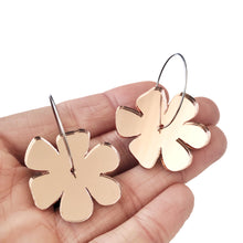 Load image into Gallery viewer, Flower Earrings Rose Gold Mirror - Mikmat Designs Earrings Laser Cut Designs