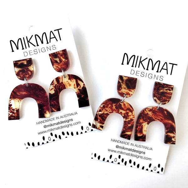Arch Drop Earrings Tortoise Shell - Mikmat Designs Earrings Laser Cut Designs
