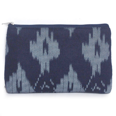 Linen Navy Ikat Pouch - Mikmat Designs Earrings Laser Cut Designs