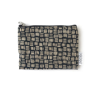 Small pouch with zipper in Black Dashed Linen - Mikmat Designs