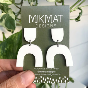 Arch Earrings White Acrylic - Mikmat Designs Earrings Laser Cut Designs