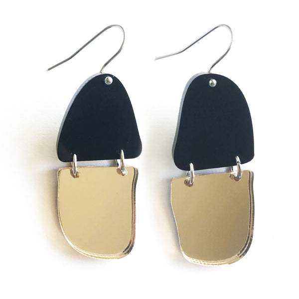 Reflection Earrings Black & Gold Mirror - Mikmat Designs
