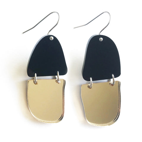 Reflection Earrings Black & Gold Mirror - Mikmat Designs Earrings Laser Cut Designs